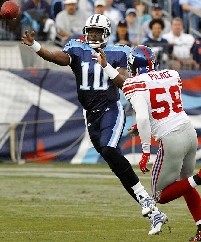 21 ... Titans quarterback Vince Young became the first rookie in NFL history to rally a team from a 21-point fourth-quarter deficit to a victory when he engineered the Titans' 24-21 victory over the Giants. In the game's final 12 1/2 minutes, Young was 14-for-17 for 132 yards and a touchdown and 4-for-43 with a TD rushing. The previous record for largest comeback by a rookie was 19 points, by John Elway. On Dec. 11, 1983, the Baltimore Colts led the Broncos 19-0 early in the fourth quarter before Elway threw TD passes to Clint Sampson, Jesse Myles and Gerald Willhite for a 21-19 Denver win.