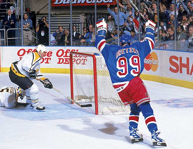 Gretzky took his act to Broadway for 1996-97, signing with the New York Rangers, with whom he spent three seasons. Gretzky and his old partner Mark Messier failed to recreate the magic they enjoyed in Edmonton, as the Blueshirts missed the playoffs.