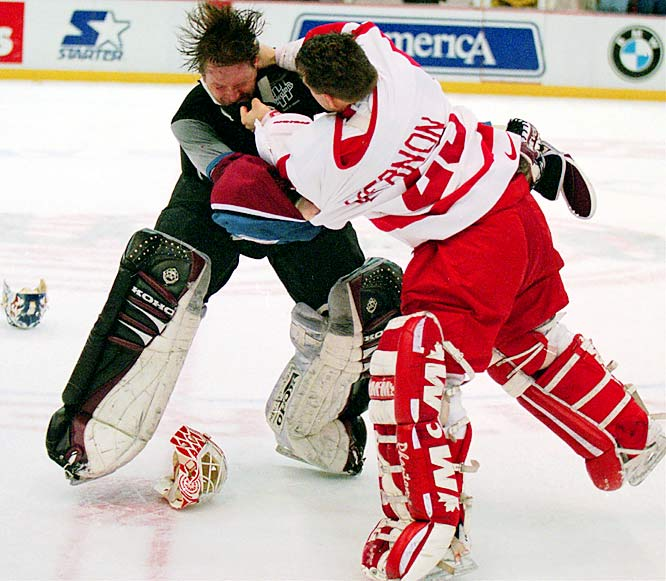 Roy could be prickly and combative -- he served an eight-game suspension for slashing in Oct. 1987 -- but he wasn't the most accomplished pugilist. Here, he took a pounding at the hands of his Red Wings counterpart Mike Vernon during a first-period brawl in Detroit on March 26, 1997.