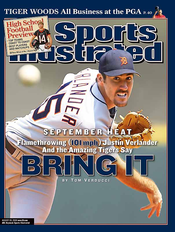 A flamethrower who won 15 of his first 21 decisions in laying the foundation for AL Rookie of the Year honors, Verlander won only two of his final six regular season games after appearing on the cover. He gave up a season-high eight earned runs in his first outing after the issue hit the newsstand. We won't even mention those two World Series losses.