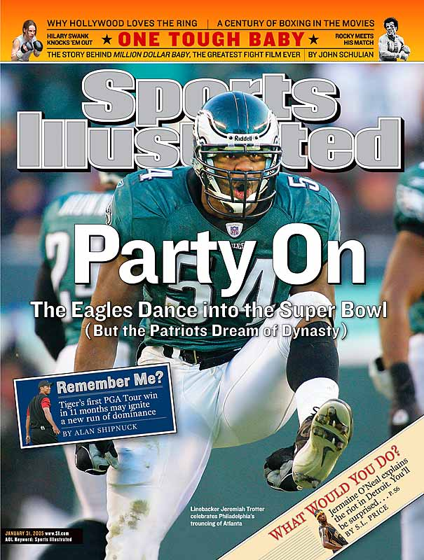 Though he finished with four tackles two weeks later in Super Bowl XXXIX, Trotter's and the Eagles' party got rained on by the New England Patriots, who won 24-21.