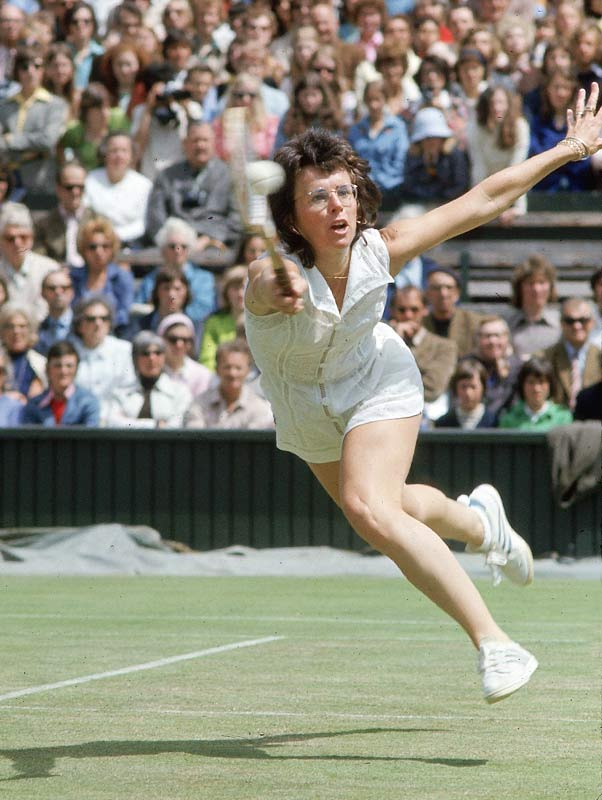 Billy Jean King at Wimbledon in 1974.