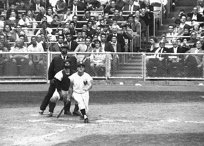Roger Maris hitting his 61st home run in 1961.