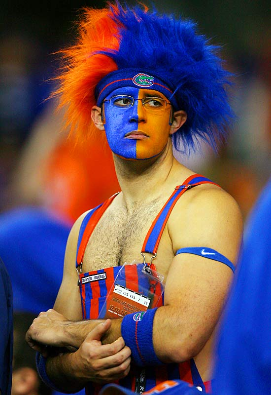 This Florida fan surely enjoyed the action in his orange and blue striped overalls.