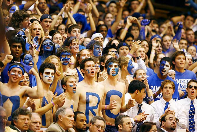 We're not sure why these three Duke fans decided to wear ties, but they seem to be enjoying themselves during Saturday's win over Georgetown.