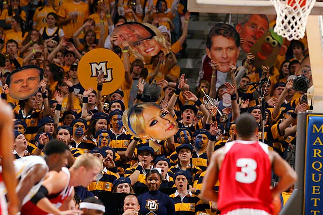 "Marquette fans use celebrity ""faces in the crowd"" to distract opposing free-throw shooters."