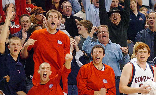 Gonzaga's bench and fans celebrate a 20-point lead over Washington in the second half.