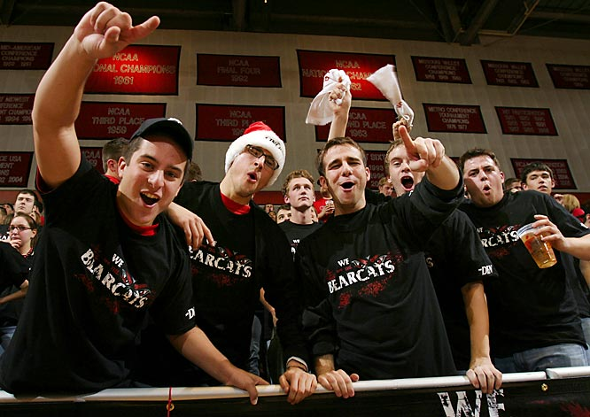 A group of Bearcat fans enjoy the action during the Bearcats victory over Xavier.