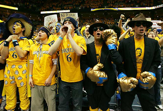 Marquette fans show some love for their team during the Golden Eagles 70-66 loss to Wisconsin.