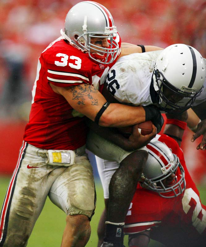 "The son of former pro wrestler Joe ""The Animal"" Laurinaitis made a name for himself as Ohio State's sophomore middle linebacker, leading the top-ranked Buckeyes in tackles (100) and interceptions (5)."