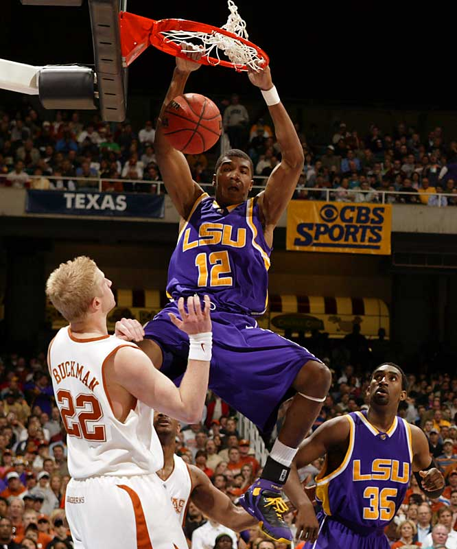 2005-06 averages: 12.3 points, 9.2 rebounds, 3.1 blocks <br><br>As a redshirt freshman in 2005-06, Thomas went from being a complete  unknown in November to one of the nation's most feared defensive  players in March. A 6-foot-9 power forward with bionic legs, Thomas  blocked five shots and pulled down 13 rebounds in the Tigers' big  Sweet Sixteen win over Duke. He had 21 points and 13 rebounds against  Texas to send LSU to the Final Four -- and then turned pro after the  season, becoming the No. 3 pick in the NBA draft.