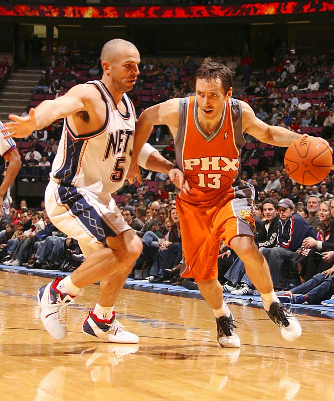 Of the three NBA games on the schedule that evening, this was the only one that wasn't nationally televised. Pity, because this double-OT thriller should be required viewing for just about any sports fan -- and the NBA's control-freak head coaches. Jason Kidd (38 points, 14 assists, 14 rebounds) and Steve Nash (42 points, 13 assists, 6 rebounds) engaged in a point guard duel for the ages, and 13 of the 19 players who saw action scored at least 10 points.  Final score: Suns 161, Nets 157