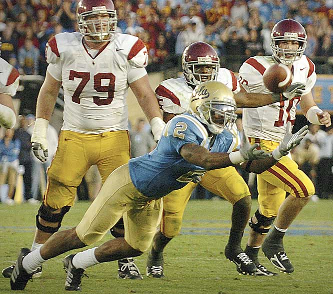 Seemingly set for a third consecutive trip to the BCS National Championship Game, the Trojans saw their title hopes killed by bitter cross-city rival UCLA at the Rose Bowl. With 1:10 remaining in the game and the Bruins up 13-9, USC quarterback John David Booty's pass was tipped and intercepted by senior linebacker Eric McNeal, effectively ending USC's dreams.