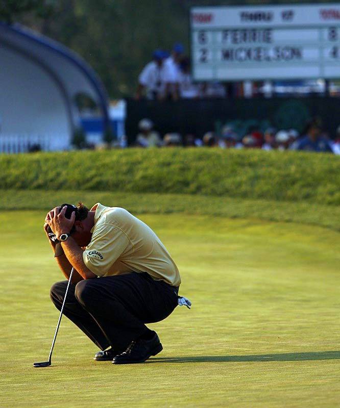 Phil Mickelson had won two consecutive majors, and 69 holes into the Open he looked as if he would join Ben Hogan and Tiger Woods as the only players to win three in a row. But Lefty double-bogeyed the 72nd hole, as did Colin Montgomerie, enabling Geoff Ogilvy to become the first Australian in 25 years to win the tournament.