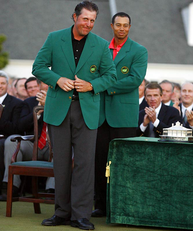 Phil Mickelson joined Tiger Woods as the only players in the last 20 years to win a major in three consecutive seasons. Lefty's two-shot victory was his second Masters title and it gave the 2005 PGA Champion back-to-back Grand Slam wins.