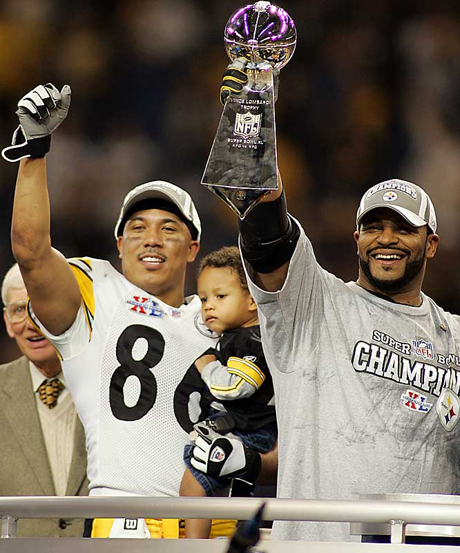 In a Detroit homecoming and farewell for retiring running back James Bettis, the Pittsburgh Steelers beat Seattle 21-10, tying Dallas and San Francisco for the most Super Bowl wins (5 apiece). Hines Ward was named the game's MVP after catching five passes for 123 yards and a touchdown.