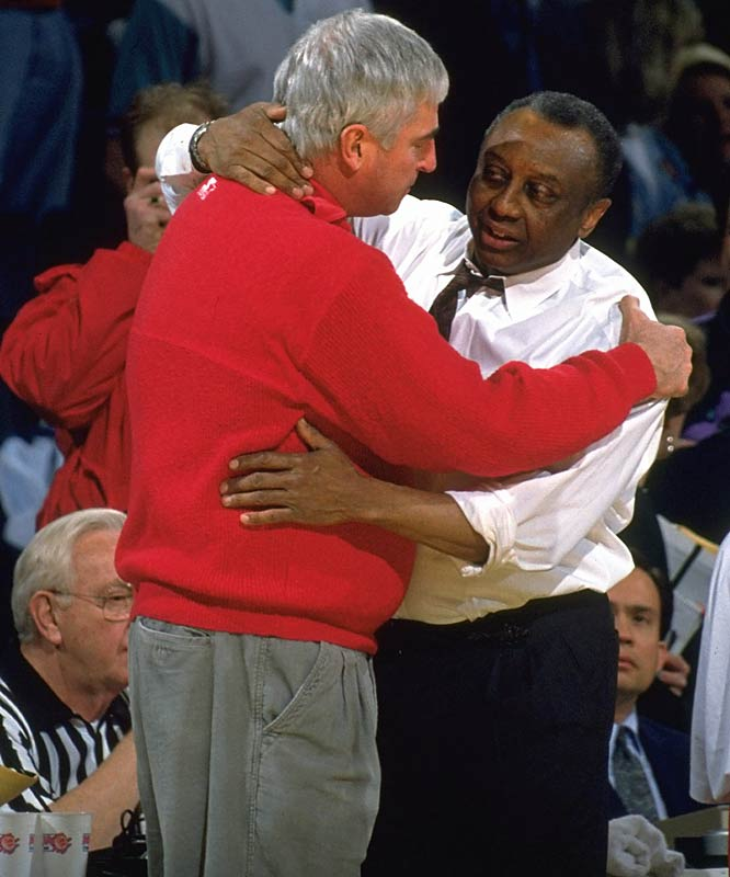 One month and a week after John Chaney threatened to kill then-UMass coach John Calipari during a post game press conference, Knight embraced his fellow coaching icon following a 67-58 NCAA tournament win in Landover, Md.