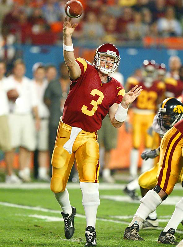 Palmer started all four of his seasons at USC, but didn't come into his own until he played his senior year under offensive coordinator Norm Chow. Palmer threw for 3,942 yards and 33 touchdowns to just 10 picks.