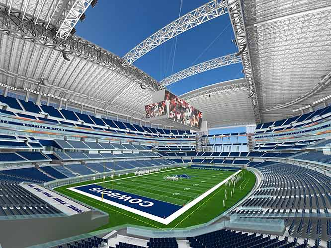 The Dallas Cowboys have unveiled the design of their new stadium, which is scheduled to open in 2009 in Arlington, Texas. The $1 billion facility will be state of the art but will also keep the distinctive hole in the roof that has become the trademark of Texas Stadium, the Cowboys' current home. Check out the rest of this gallery for more artist renderings of the new stadium.