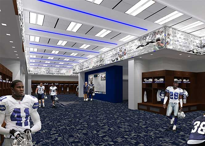 Cowboys players will also look forward to a much larger locker room than the one they currently have at Texas Stadium.