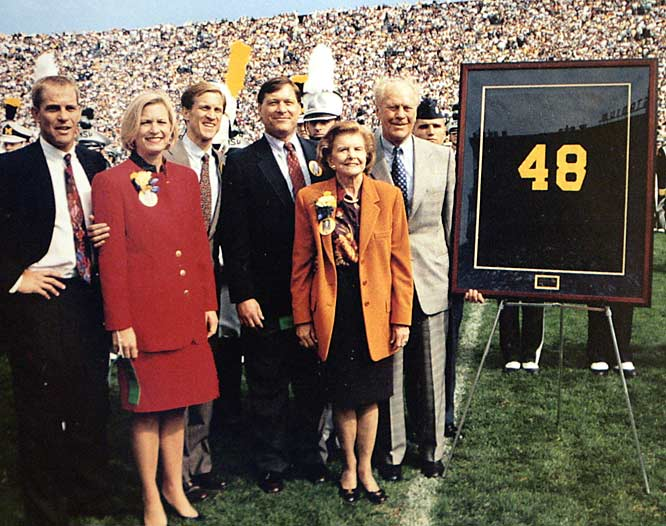 Family and friends joined Ford on the field at Michigan Stadium as the Wolverines retired his No. 48 football jersey on Oct. 8, 1994. Never a team captain, Ford, a center, earned the team's most valuable player honors as a senior before graduating in 1935.
