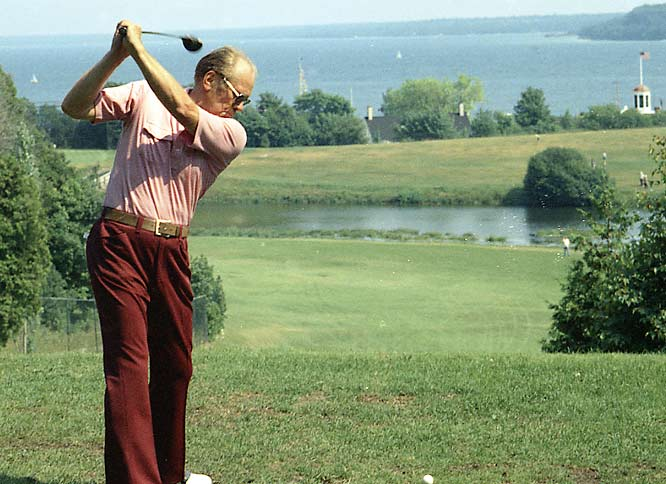 "With Watergate, which Ford called ""our long national nightmare"", behind him, the President played golf during a working vacation on Mackinac Island in Michigan on July 13, 1975."