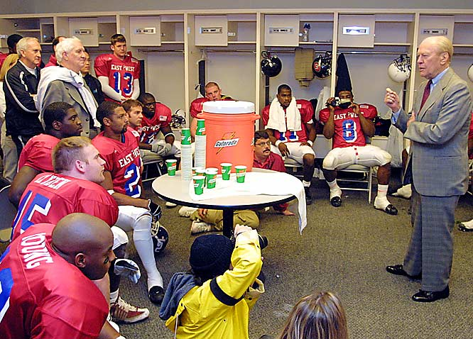 An alumnus of the East-West Shrine game, Ford gave a pre-game speech to the East team on Jan. 12, 2002 in San Francisco, the same city where Ford played in the game on Jan. 1, 1935.