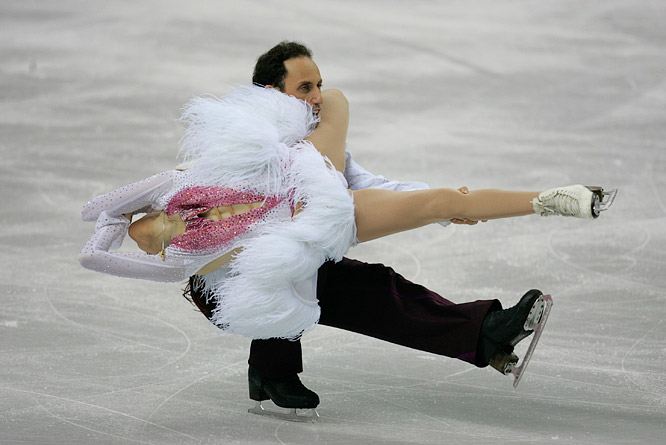 Galit Chait and Sergei Sakhnovski of Israel compete during the figure skating ice dancing - original dance event at the Torino Games.
