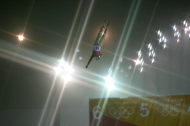 Oly Slivets of Belarus flips for joy during the freestyle skiing ladies' aerials final at the 2006 Olympics.