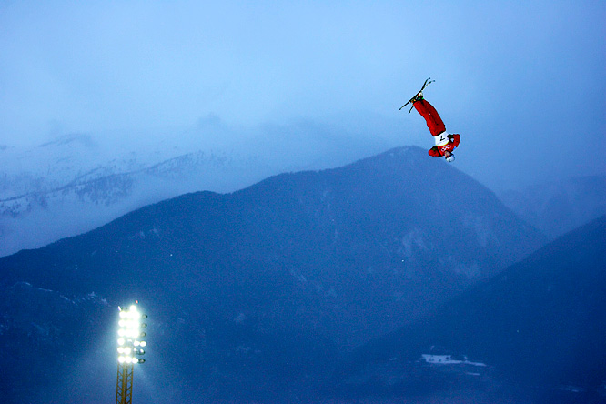 Xiaopeng Han of China flies through the air during the first run of men's aerials, which he won gold for during the 2006 Winter Olympics.