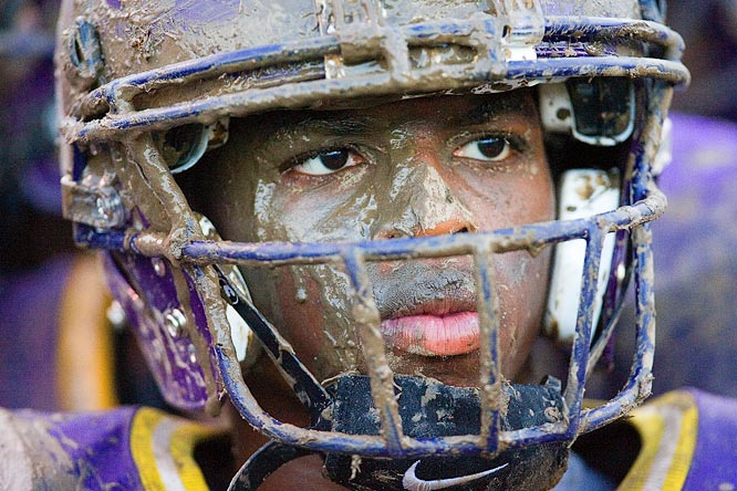 Wide receiver Joseph Gaskins of St. Augustine High in New Orleans watches his team, which had its 2005 season wiped out in the wake Hurricane Katrina.