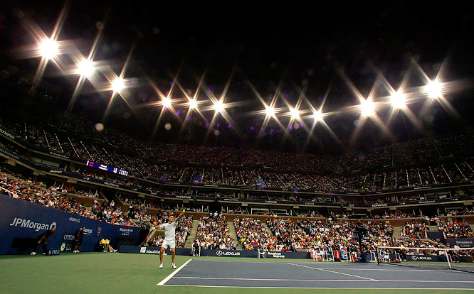 Andre Agassi serves to Andrei Pavel of Romania during the first round of the 2006 U.S. Open.