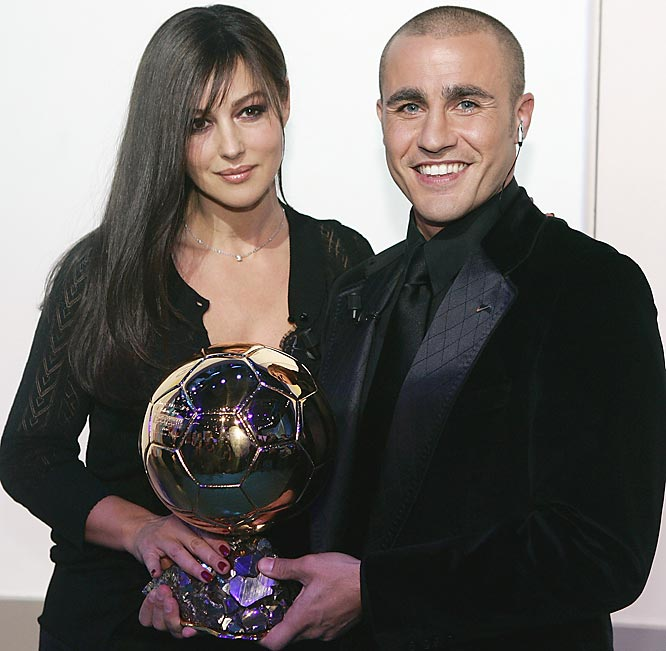 Real Madrid's defender Fabio Cannavaro, the captain of Italy's soccer World Cup champion team, won the 2006 Golden Ball trophy. Even better for him, he got to take pictures with Italian actress Monica Bellucci.