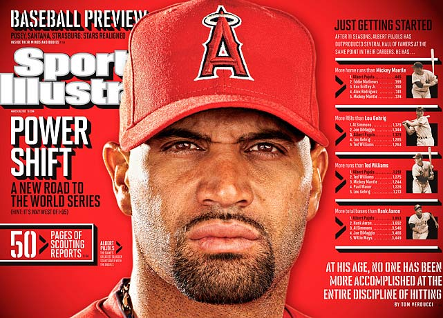 The three-time NL MVP agreed to a $254 million, 10-year contract with the Los Angeles Angels. When Pujols signed a seven-year, $100 million deal with the Cardinals in 2004, it looked like the biggest bargain of them all. Pujols has established himself as the best pure hitter in the game, helped lead the Cardinals to World Series titles in 2006 and 2011. He won the 2005, '08 and '09 NL MVP awards and finished second in the voting for '06 and 2010.