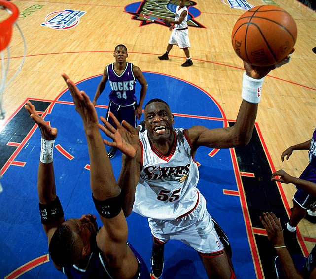 Pushing for a title in 2001 with Allen Iverson at his MVP best, the 76ers obtained defensive ace Mutombo in a six-player deal with Atlanta, which received All-Star Theo Ratliff and Toni Kukoc. Ratliff was an extremely popular and productive player for the Sixers, but Mutombo was rejuvenated by the trade and was an even bigger lane presence than Ratliff. He averaged 13.9 points, 13.7 rebounds and 3.1 blocked shots in the playoffs, spurring Philadelphia into the NBA Finals. where the Sixers lost to Shaq's and Kobe's Lakers.