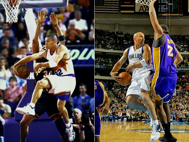 Kidd has been involved in two in-season blockbusters, the first on Dec. 26, 1996, when he was the first of the Three J's (Kidd, Jamal Mashburn and Jim Jackson) to leave Dallas, going to Phoenix in a six-player deal that netted the Mavericks Michael Finley and Sam Cassell. Twelve years later, Kidd rejoined the title-contending Mavs, who sent up-and-coming point guard Devin Harris, four other players and two first-round picks to New Jersey for the future Hall of Fame point guard.