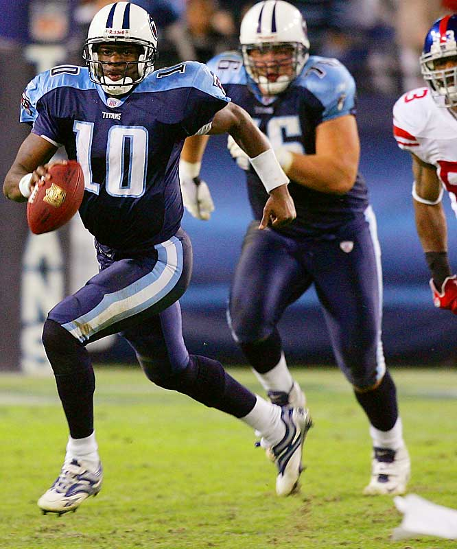 Bringing back memories of his national title win last January, Vince Young led the Titans from a 21-point second-half deficit to a 24-21 victory in Week 12. The signature play of the game took place on a fourth-and-10 in the fourth quarter when the Giants' Mathias Kiwanuka had Young wrapped up, but surprisingly let him go, allowing the Titans' QB to scramble for the first down. Young ran for a TD and threw for two more in the final quarter to seal the improbable triumph.