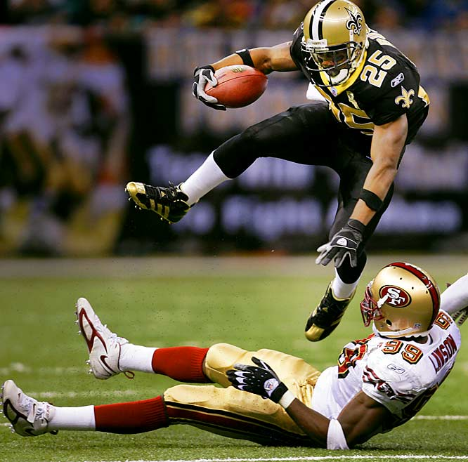 Saints rookie Reggie Bush was a little disappointing for most of the season, but in Week 13, the No. 2 overall pick showed he could do in the pros what he had routinely done in college. Bush had four thrilling TDs in a 34-10 romp over the Niners. He carried the ball just 10 times for 37 yards, but three of those rushes ended up in the end zone. The former Heisman Trophy-winner also caught nine passes for 131 yards in the win.