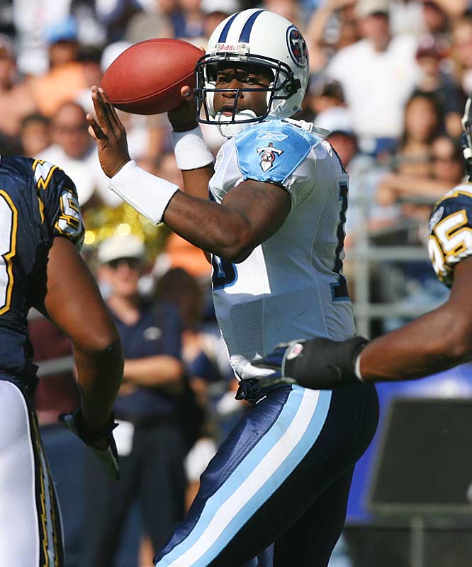 You really can't understand the impact Vince Young has had by looking at the numbers. He has one of the worst passer ratings in the NFL (65.7), but the guy just knows how to win and teammates get fired up by his competitive spirit. Many experts thought the Titans blew the No. 3 overall pick, but Young has led the Titans to an incredible late-season push. They've won their last four and should be tough to beat down the stretch.