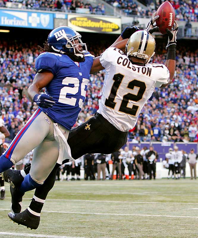 Last Week: 6 <br><br>Colston's ankle injury derailed his campaign for Offensive Rookie of the Year. But he looks like he's getting back into shape. Last week he had an impressive touchdown catch to help the Saints beat the Giants.