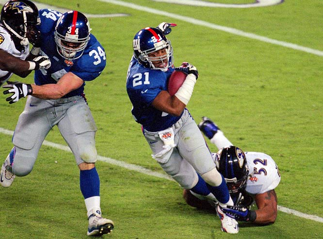 Barber's Giants stormed through the NFC playoffs to reach Super Bowl XXXV against Baltimore. The Ravens, led by their ferocious defense, won 34-7.
