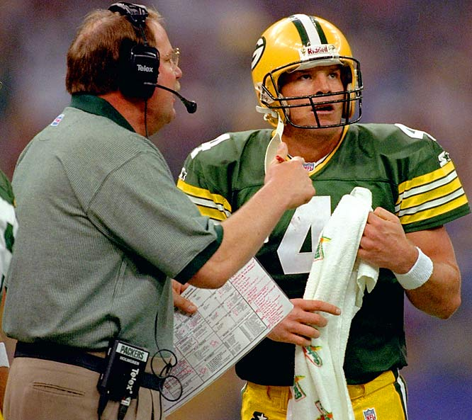 Holmgren and Favre were together for seven years in Green Bay, 1992-98, never once missing the playoffs during that span. They won a Super Bowl in 1996, and were denied back-to-back titles in an upset by Denver in 1997. But the defining legacy of their time was how Holmgren managed to tame the wild mustang of a quarterback that Favre was when he arrived from Atlanta before the 1992 season.