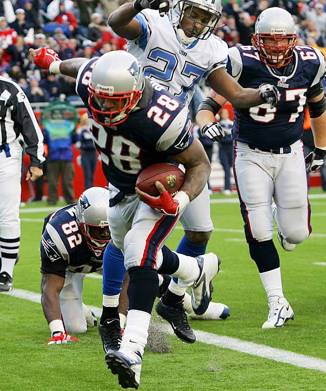 Corey Dillon scored three touchdowns on the ground against Detroit, two in the last nine minutes to help New England avoid the upset.