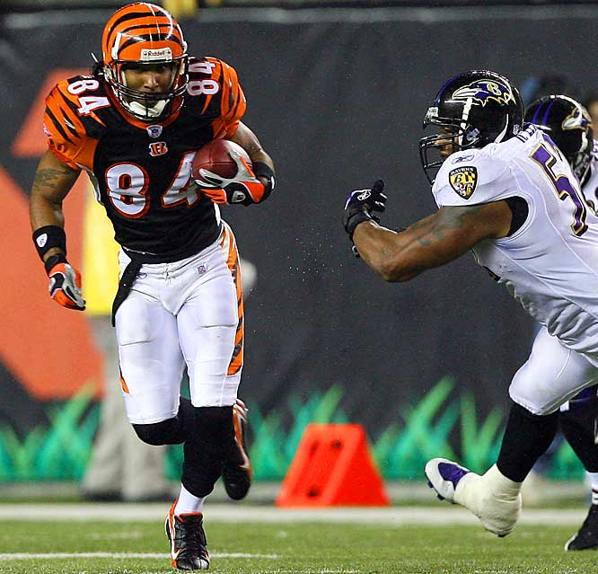 T.J. Houshmandzadeh caught 10 passes for 106 yards, including a 40-yard touchdown on a flea-flicker, against Ray Lewis and the Baltimore D on Thursday night.