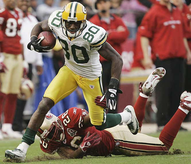 Wideout Donald Driver breaks loose for a 68-yard touchdown reception in the third quarter against San Francisco. Driver caught nine passes for 160 yards as Green Bay snapped a three-game losing streak.