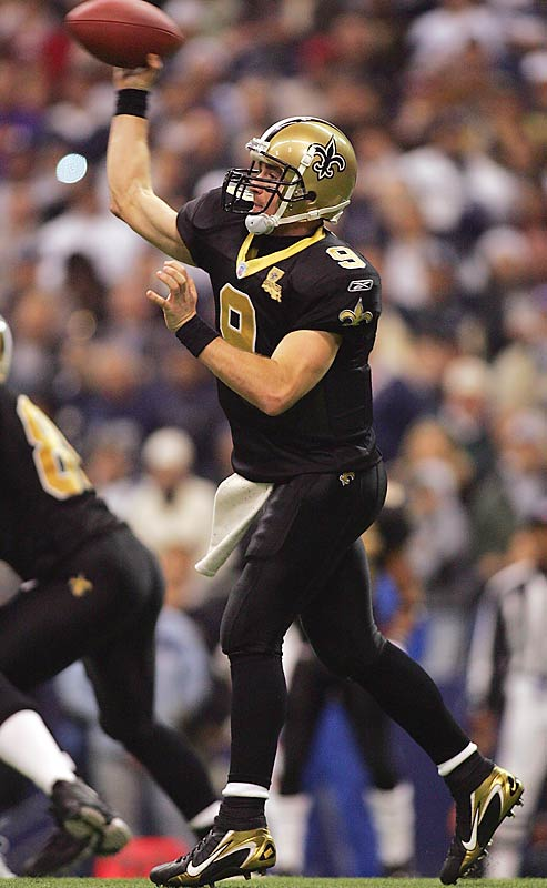 Drew Brees threw for 384 yards and five touchdowns against Dallas, topping 4,000 yards passing for the first time in his career.
