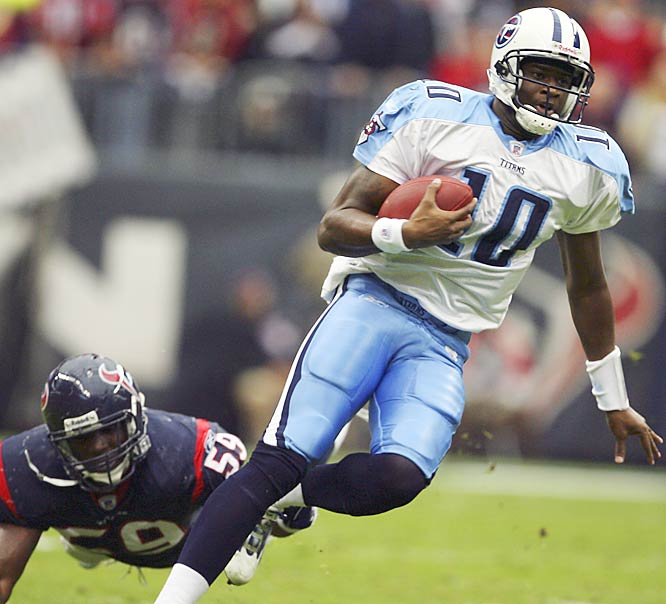Vince Young ran for a 39-yard touchdown in overtime against Houston, playing just six miles from where he grew up. Young led the Titans to their third straight comeback victory and fourth win in a row.