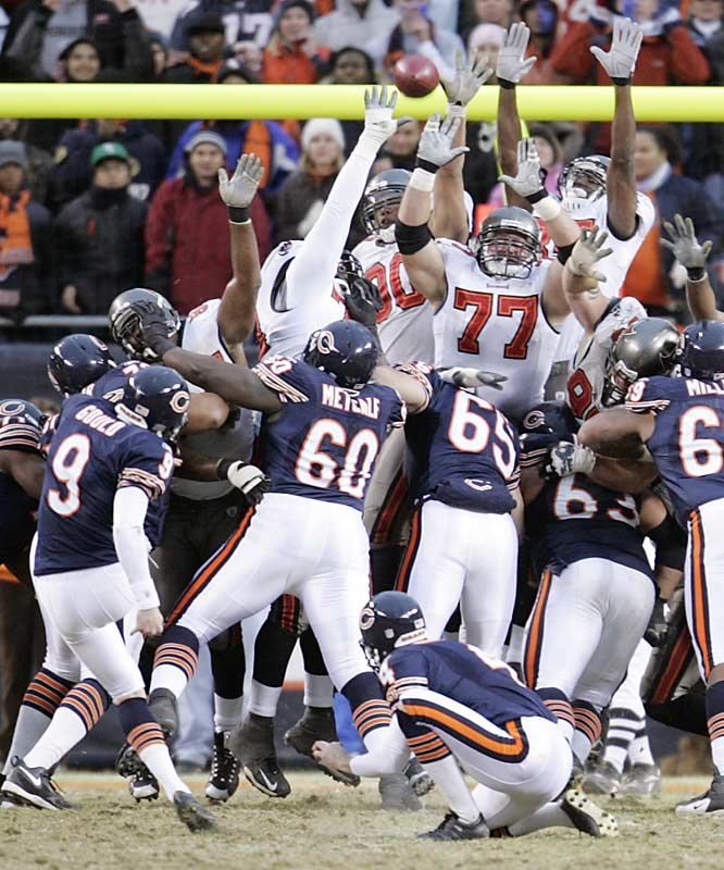 Chicago's placekicker Robbie Gould kicked two field goals, including this game winner in overtime, to help Chicago clinch a first-round bye and home field advantage throughout the NFC playoffs. The Bears squandered a 21-point lead late in the third quarter to allow the game to go into overtime.