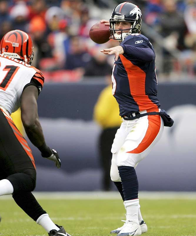 Jay Cutler became the first NFL quarterback to throw for multiple touchdowns in each of his first four games. The rookie out of Vanderbilt led Denver past Cincinnati to put the Broncos in good position for the AFC wild card.