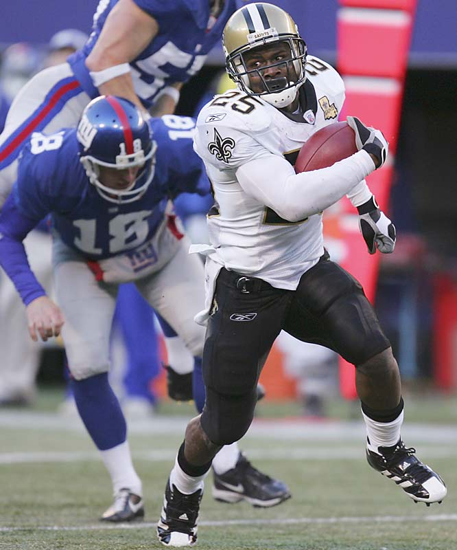 Reggie Bush ran for a career-high 126 yards and a touchdown as New Orleans scored 30 unanswered points after an early touchdown by the Giants.